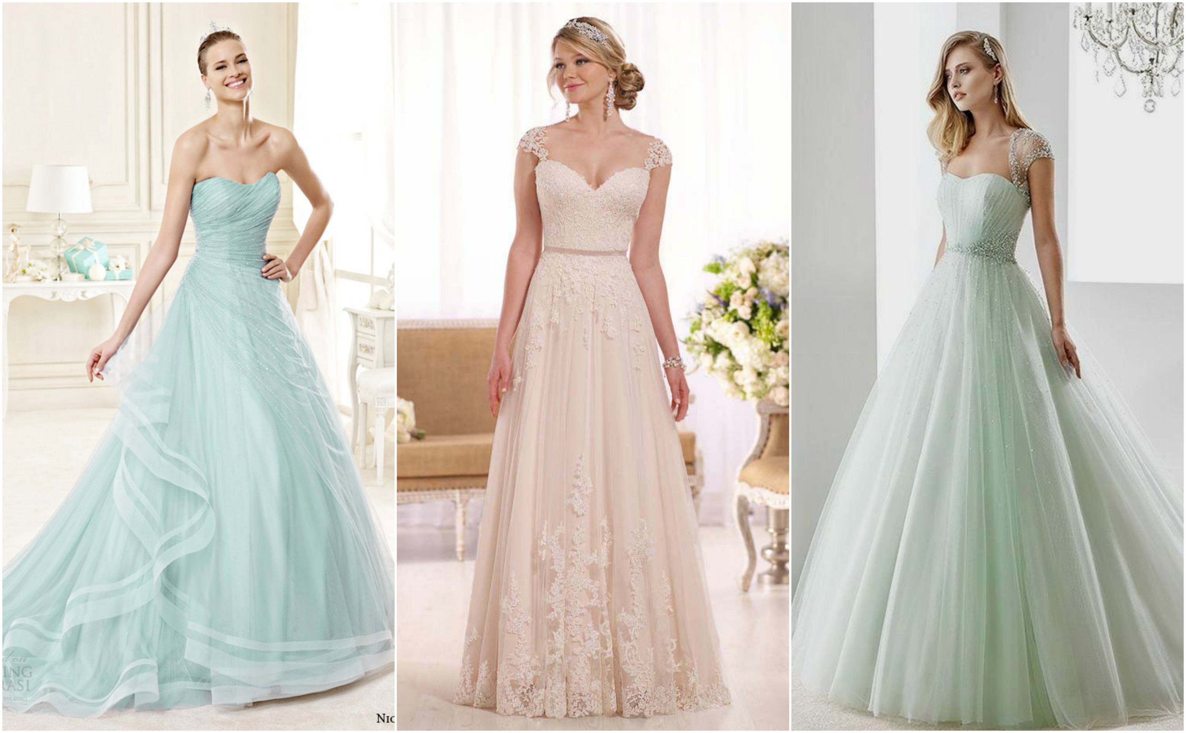 blue, blush and mint bridal gowns